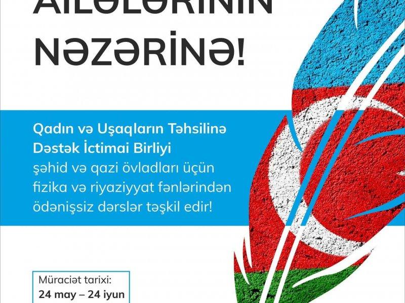 İctimai Birlik şəhid və qazi övladları üçün ödənişsiz kurslar təşkil edir